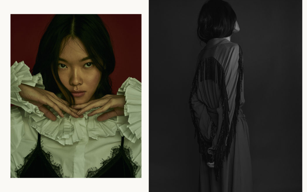 Fashion editorial for Schön magazine. Natural light, portrait, beauty shot, black and white, gloomy, moody