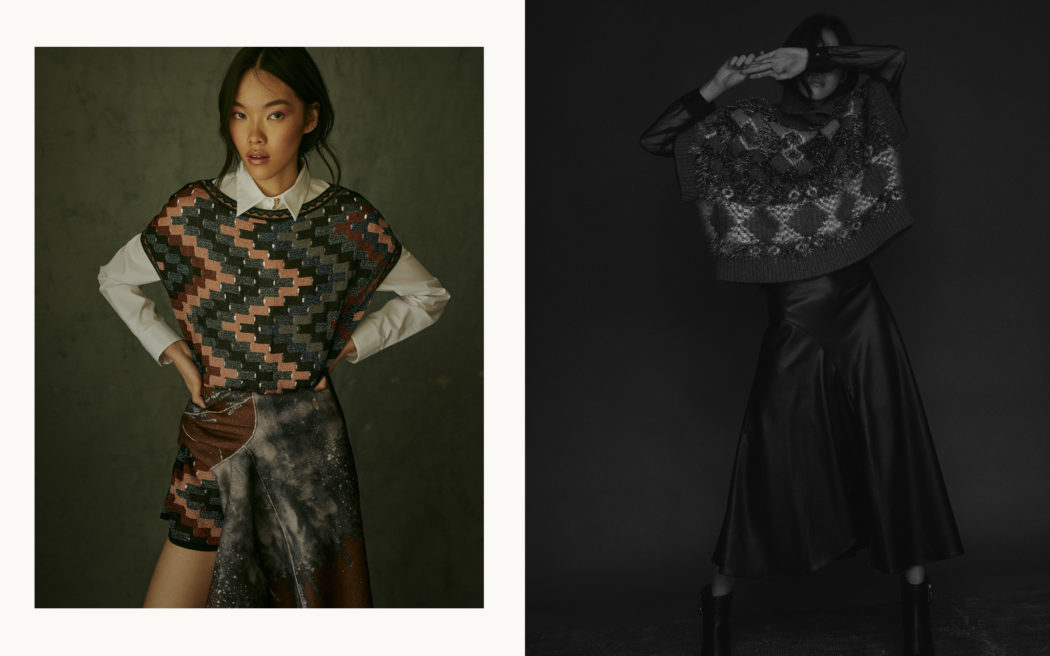 Fashion editorial for Schön Magazine, natural light, pattern mix, black and white, dark and gloomy mood