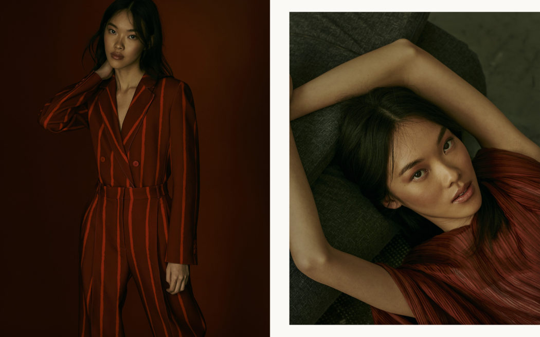 Fashion editorial for Schön Magazine, natural light, red backdrop, red look, gloomy mood, portrait