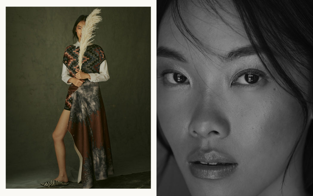 Fashion editorial for Schön Magazine, natural light, moody portrait, black and white, flower, print mix, beauty shot