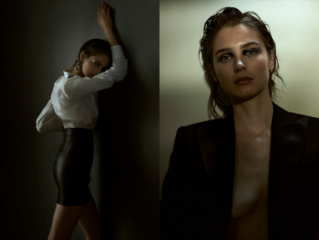 Fashion photography editorial for Flanelle Magazine with hair and make up artist Ricardo Calero and stylist Maria Jose Castillo and model Joanna Krneta from Sight Management. Moody, dark light and dark make up editorial. Double page. Left: model leaning on wall. Right: moody portrait